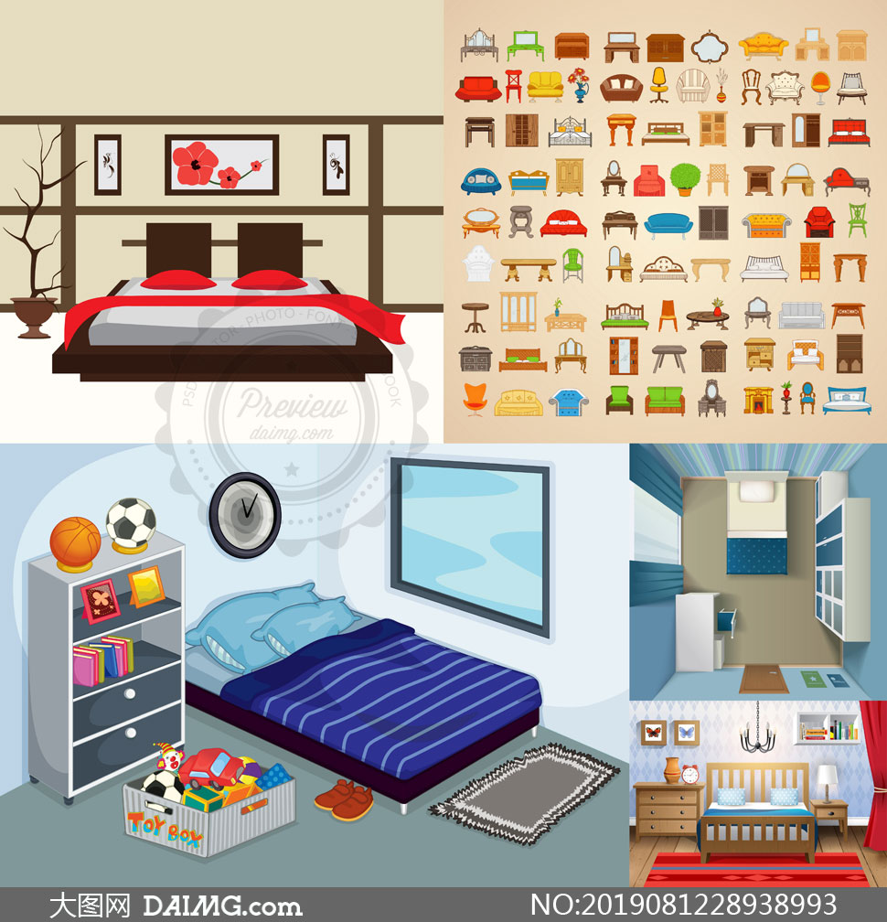 卧室房间家具摆放布局主题矢量素材