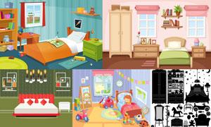 卡通创意卧室房间家具主题矢量素材