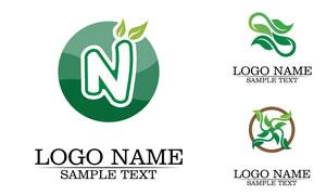 绿叶与圆形边框等元素标志矢量素材