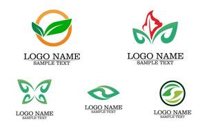 圆环图形与绿叶等元素标志矢量素材