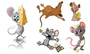 奶酪与卡通小老鼠主题矢量素材集V1