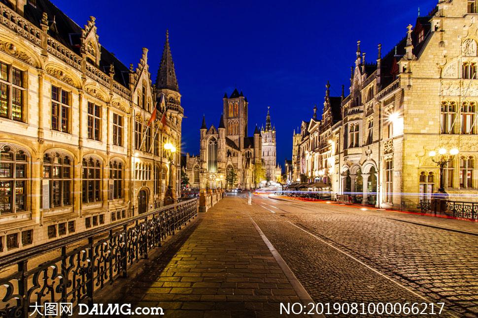 欧洲街区美丽夜景摄影图片