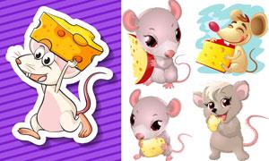 奶酪与卡通小老鼠主题矢量素材集V2