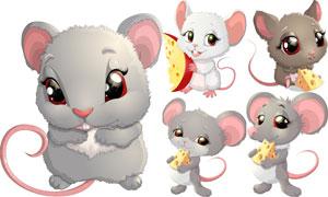 奶酪与卡通小老鼠主题矢量素材集V3