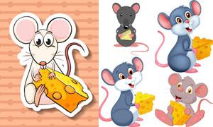 奶酪与卡通小老鼠主题矢量素材集V4