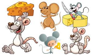 奶酪与卡通小老鼠主题矢量素材集V5