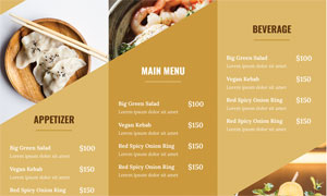 餐饮店菜品三折页设计模板矢量素材
