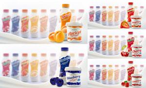 多种水果风味酸奶广告海报矢量素材
