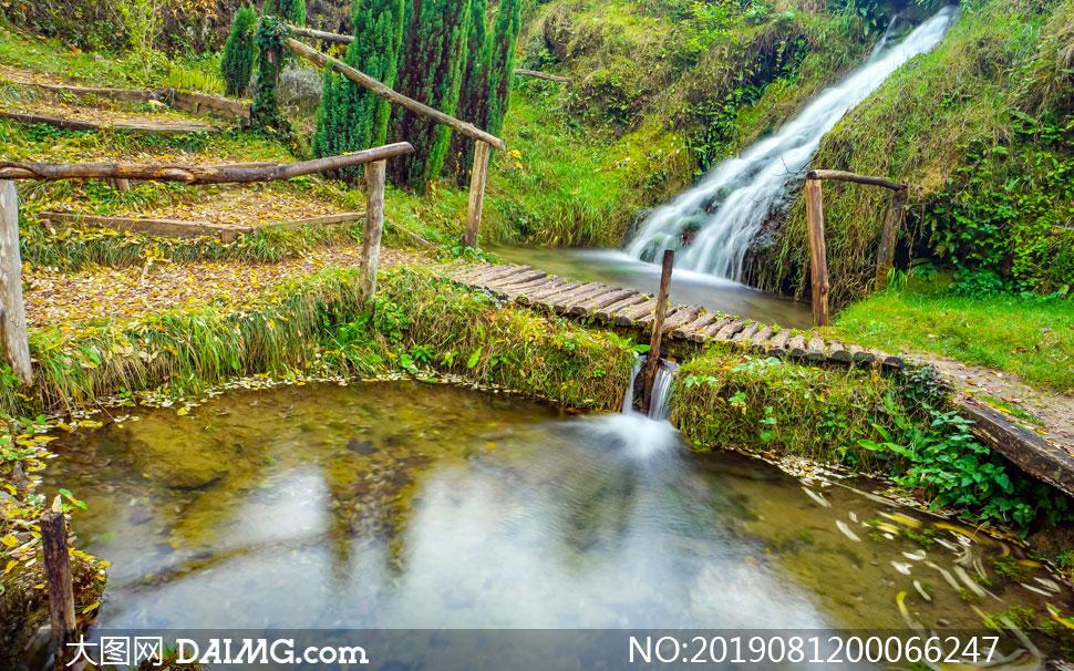 山坡上流下的溪水摄影图片