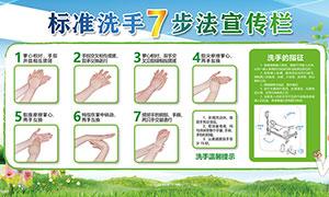 标准洗手7步法宣传栏设计PSD素材