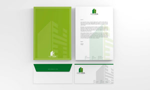 企业商务信封与办公用纸等贴图模板