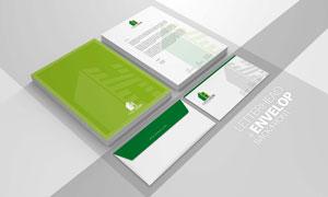 企业商务信笺信封样机设计分层模板