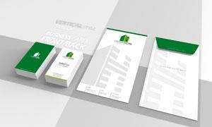 企业商务名片与竖样式信封样机模板