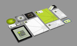 光盘名片与办公用纸等样机模板素材