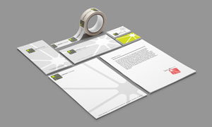信纸名片与胶带等元素样机模板素材