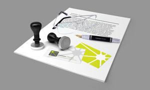 钢笔印章名片与纸张等样机模板素材
