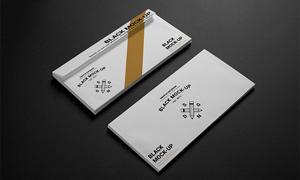 质感效果商务往来信封样机模板素材