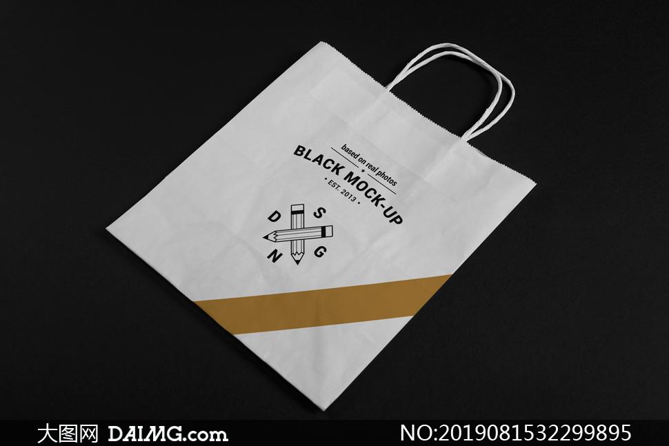 手提式纸袋图案印刷效果样机源文件