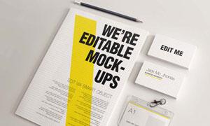 企业工作牌铅笔与商务名片样机模板