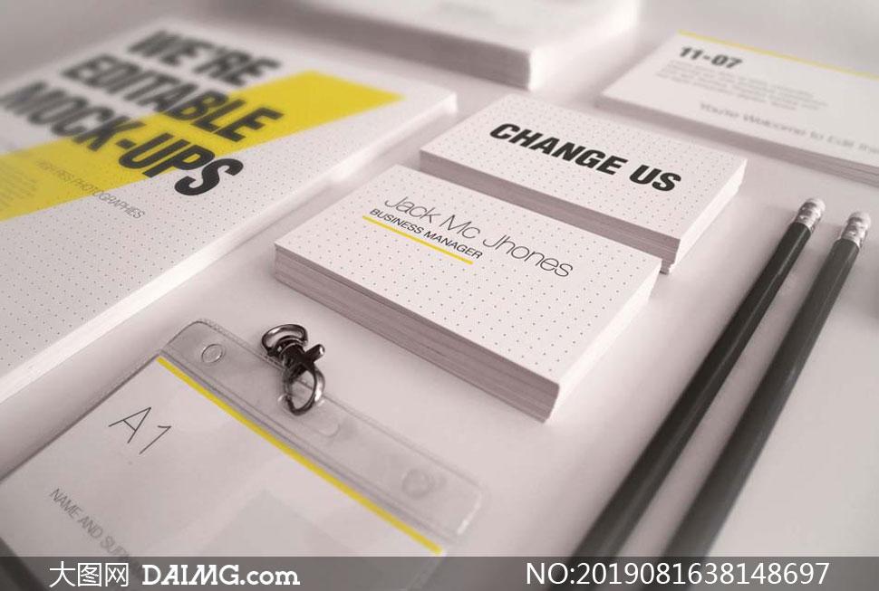 工作牌名片与铅笔元素样机模板素材