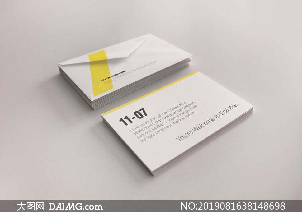 叠放起来的卡片封套等样机模板素材