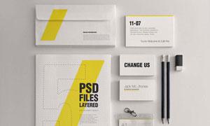 信封名片铅笔与工作牌样机分层模板