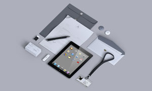 纸张信封名片与工作证样机模板素材