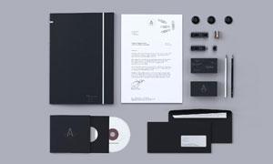 纸张记事本与光盘信封样机模板素材