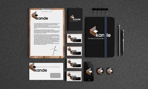 名片信封与记事本铅笔样机模板素材