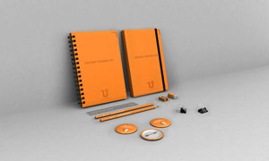 记事本铅笔与胸章直尺样机分层模板