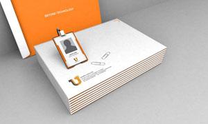 工作证与信封透视效果样机贴图模板