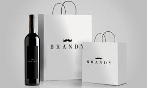 葡萄酒与手提袋图案应用效果源文件