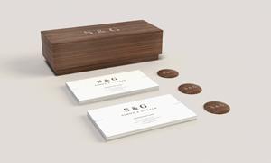 商务名片与小木盒样机模板分层素材