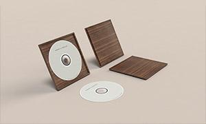 立着的木质光盘包装盒样机模板素材