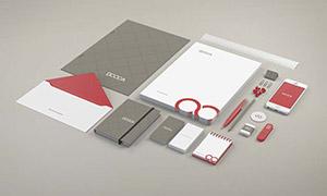 手机纸张与名片信封等样机模板素材