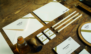 名片信封铅笔等物品样机模板源文件