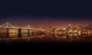 城市夜景和美丽的大桥摄影图片