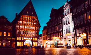 欧美城市街道美丽夜景摄影图片
