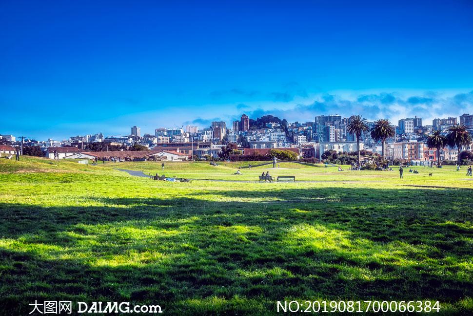 城市建筑物和公园草地摄影图片