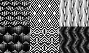 四方连续黑白抽象几何图案矢量素材