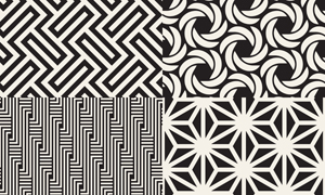 黑白抽象图形元素无缝背景矢量素材