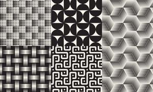 无缝拼接黑白几何抽象图案矢量素材