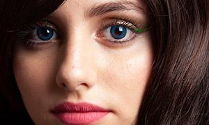 浓密秀发红唇美女主题修图原片素材