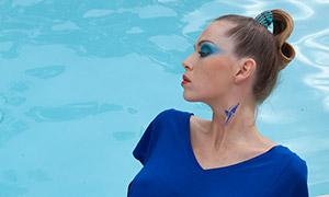 蓝裙纹身美女人物模特写真摄影原片