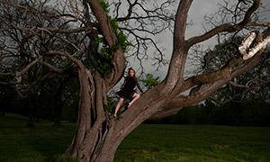 站在大树上的黑裙美女摄影原片素材
