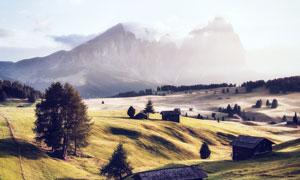 山坡绿色草地和茅草屋摄影图片