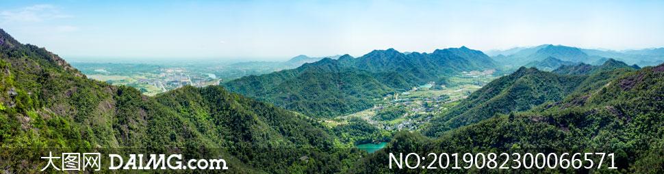 大慈巖山頂全景圖高清攝影圖片