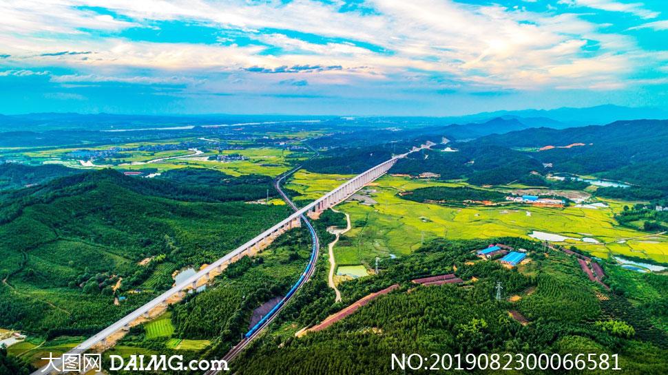 田園山林和農作物美景攝影圖片