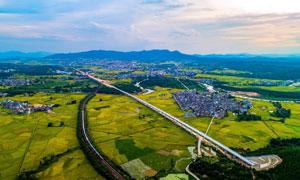 田园农作物和村镇高清摄影图片