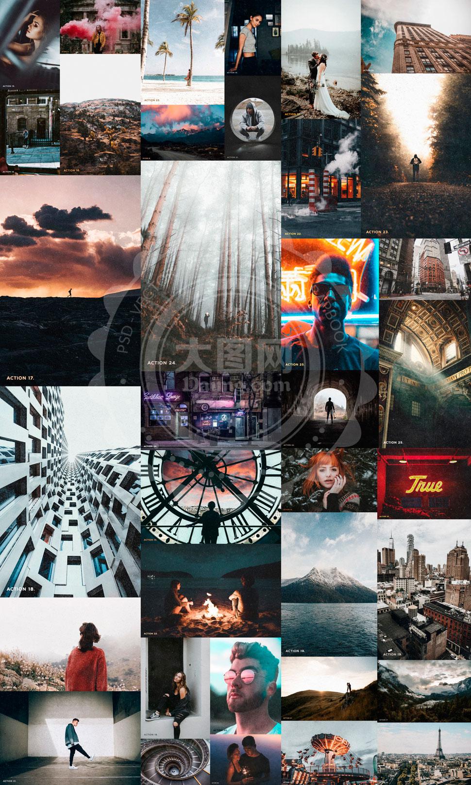 25款磨砂老照片艺术效果PS动作